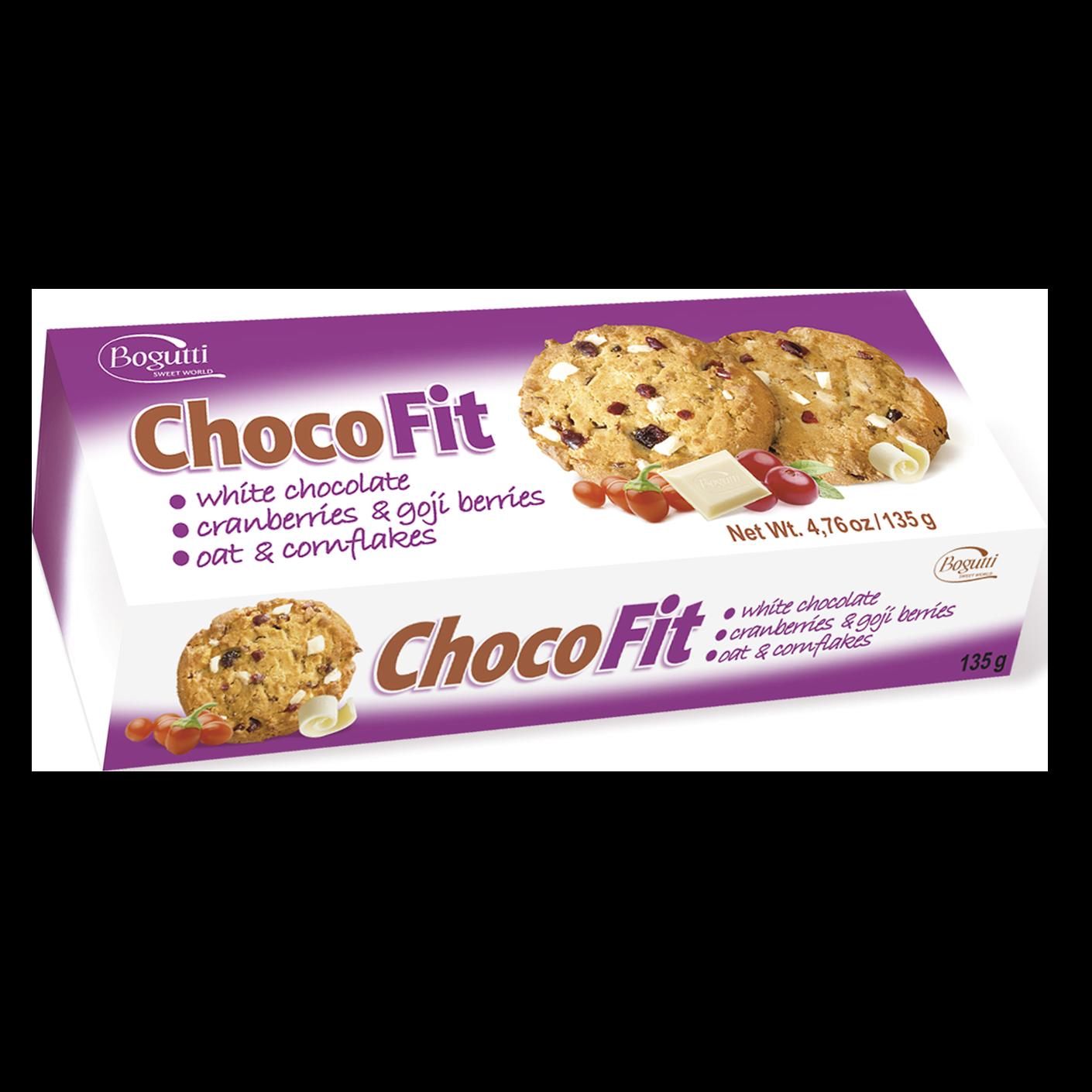 Choco Fit – Kruche ciasteczka z płatkami owsianymi, kukurydzianymi, białą czekoladą, owocami goji i żurawiną
