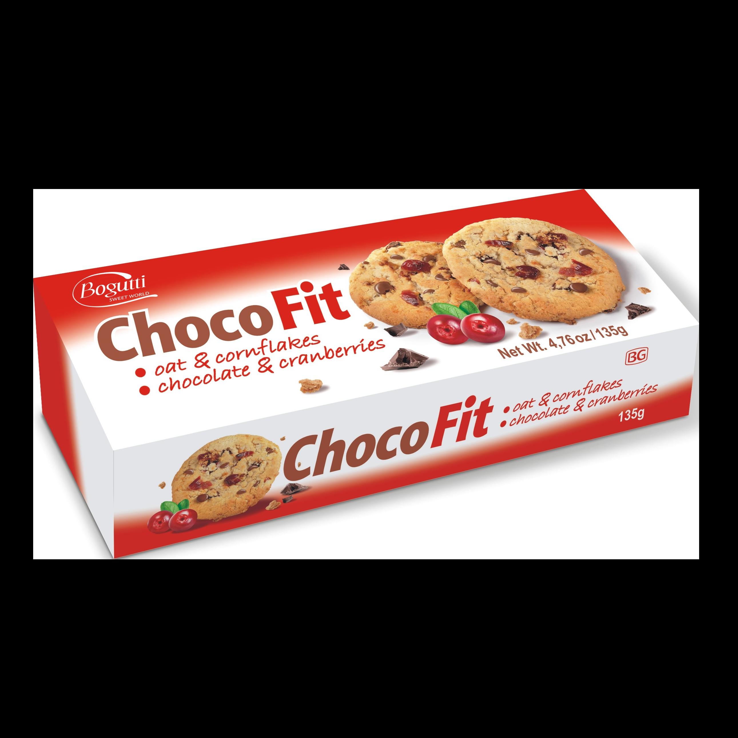 Choco Fit – Kruche ciasteczka z płatkami owsianymi, kukurydzianymi, czekoladą i żurawiną