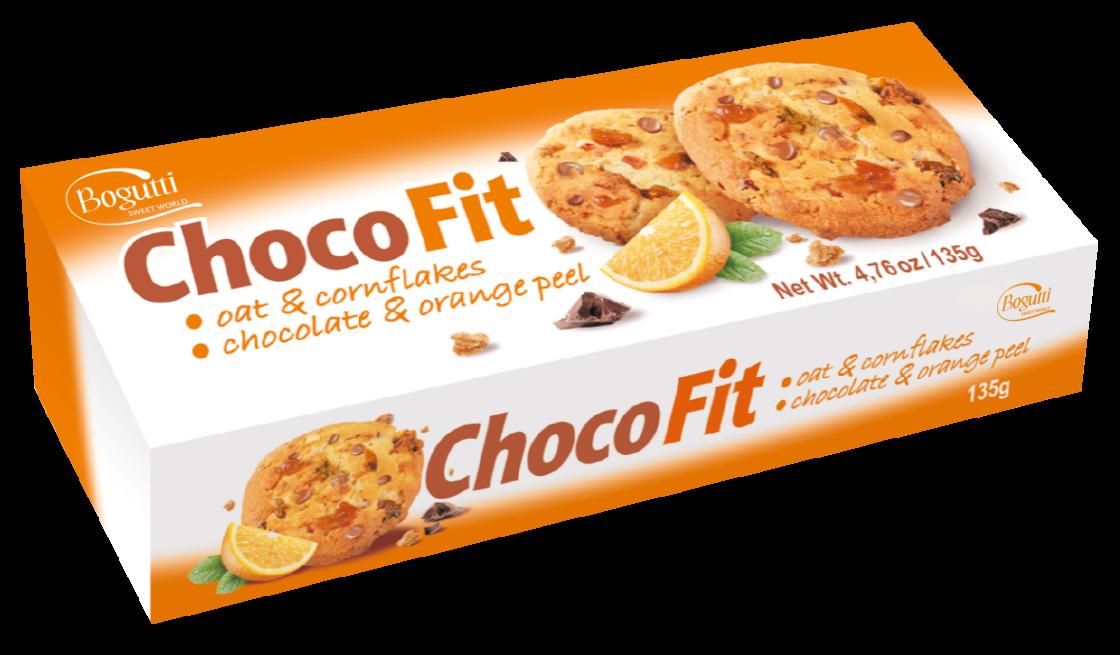 Choco Fit – Kruche ciasteczka z płatkami owsianymi, kukurydzianymi, czekoladą i skórką pomarańczową