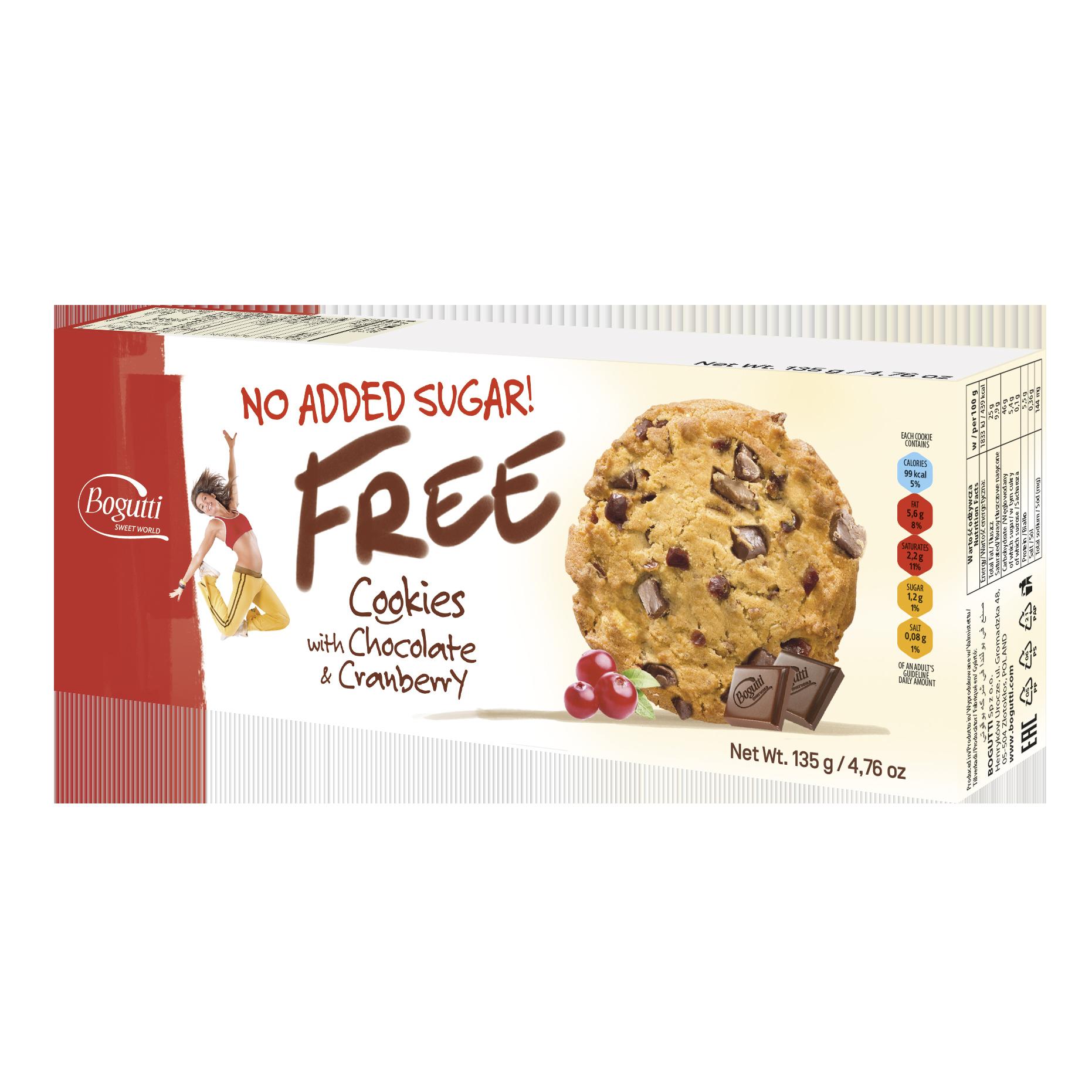 FREE – خالٍ من السكر المضاف كوكيز بالشوكولاتة والتوت البري
