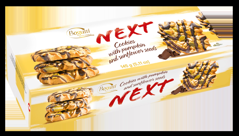 NEXT – Kruche ciasteczka z ziarnami słonecznika i dyni z polewą kakaową